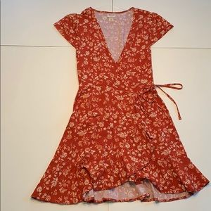 Mossimo/Target Rust Floral Wrap-Around Dress